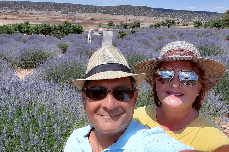 Omar and Lanell in lavender fields